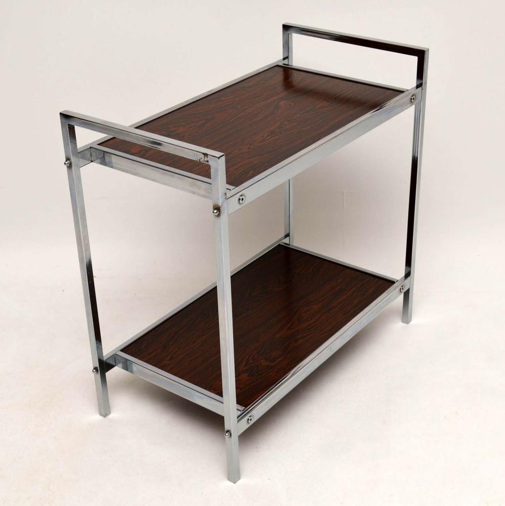 ... Retro Chrome U0026 Rosewood Effect Side Table Vintage 1970u0027S ...