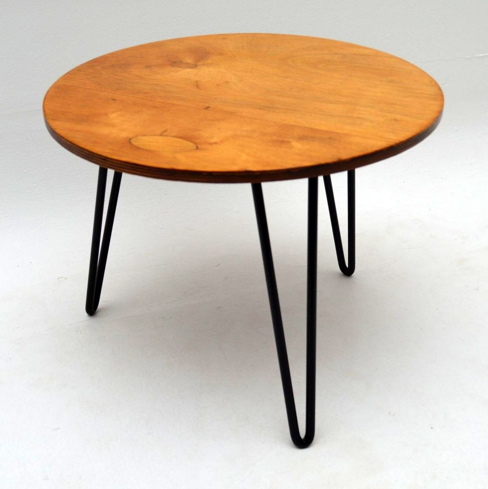 Retro coffee table on hairpin legs vintage 1950 s for Vintage hairpin table legs