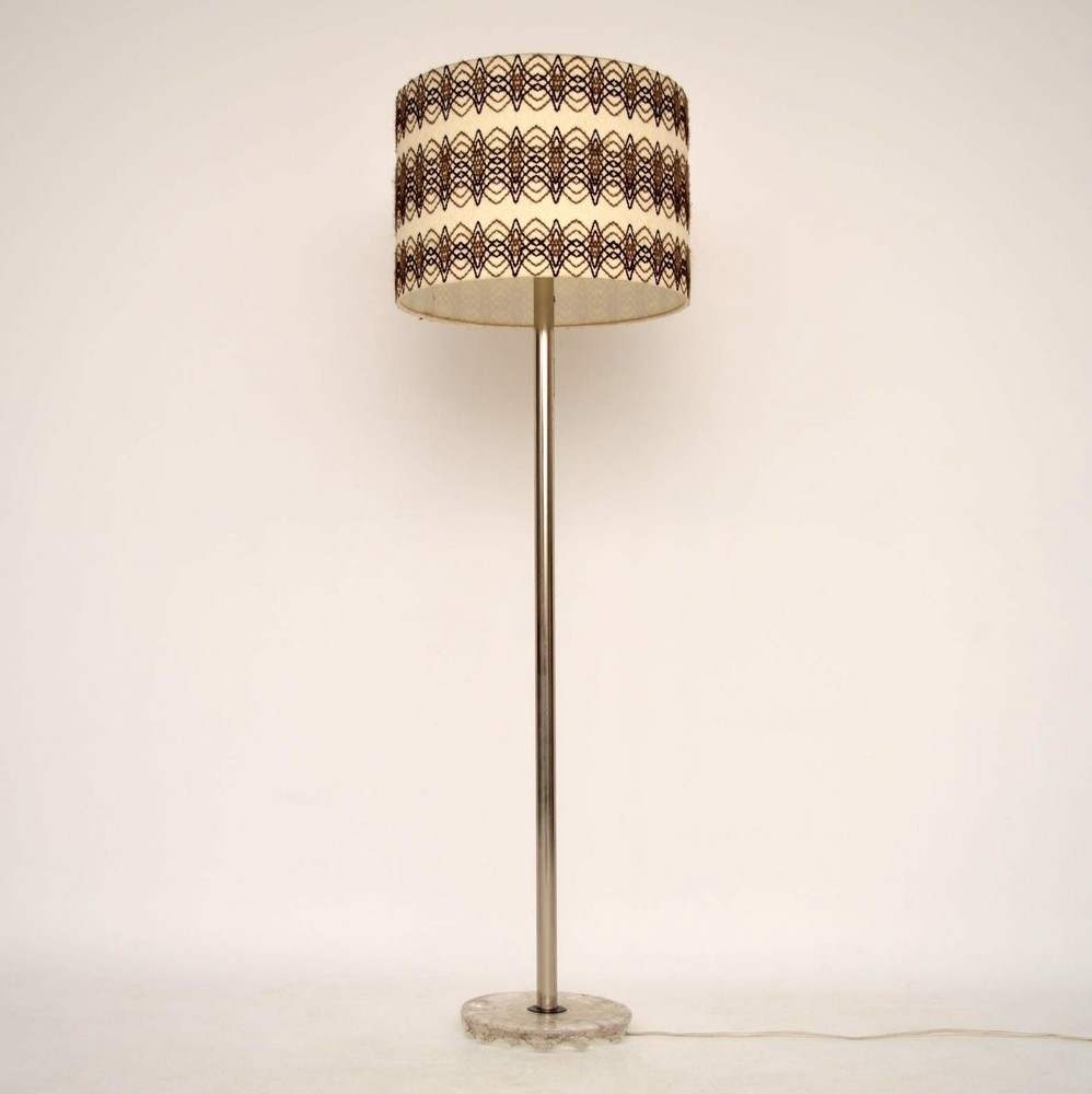 Retro Danish Chrome & Glass Standard Lamp Vintage 1960's