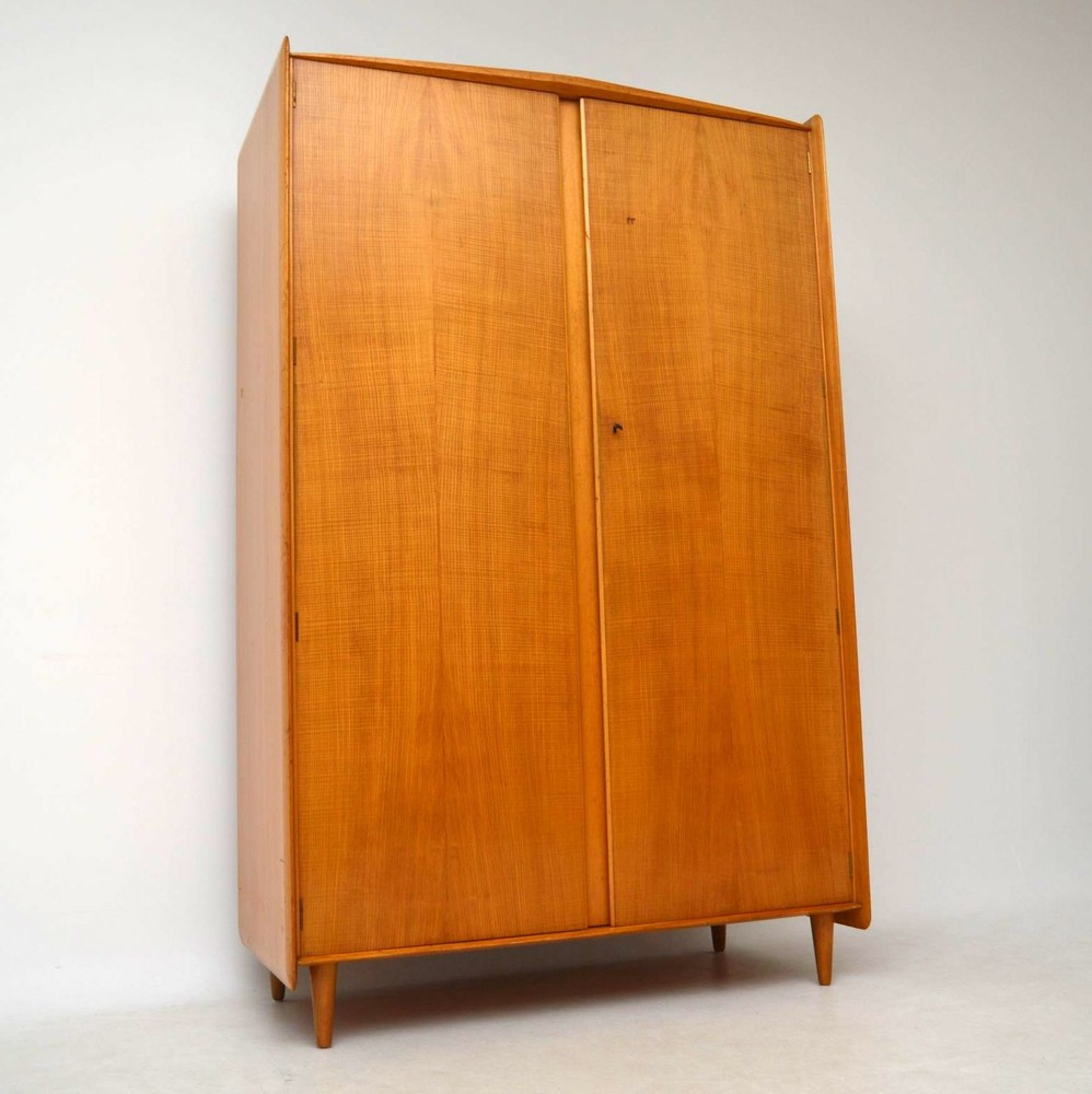 Retro Elm Wardrobe by Maple & Co Vintage 1950's
