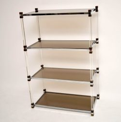 Retro French Lucite, Chrome & Brass Bookcase Vintage 1970's