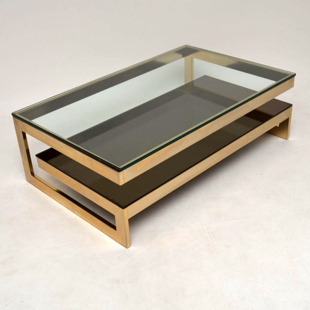 Retro Gold Plated Coffee Table By Belgochrom Vintage 1970
