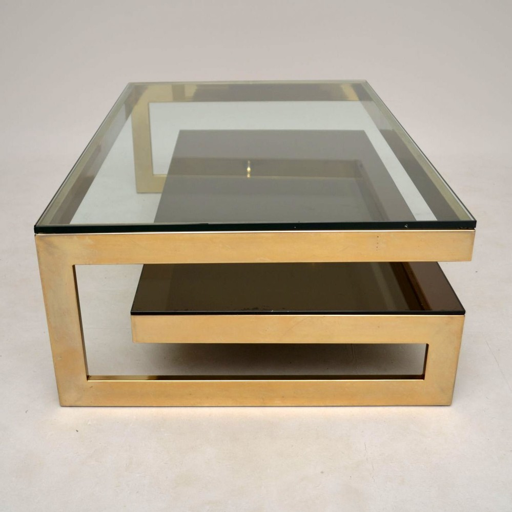 Gold Plated Coffee Table: Retro Gold Plated Coffee Table By Belgochrom Vintage 1970