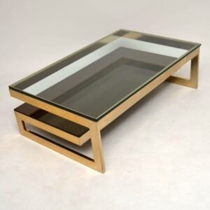 Retro Gold Plated Coffee Table By Belgochrom Vintage 1970'S