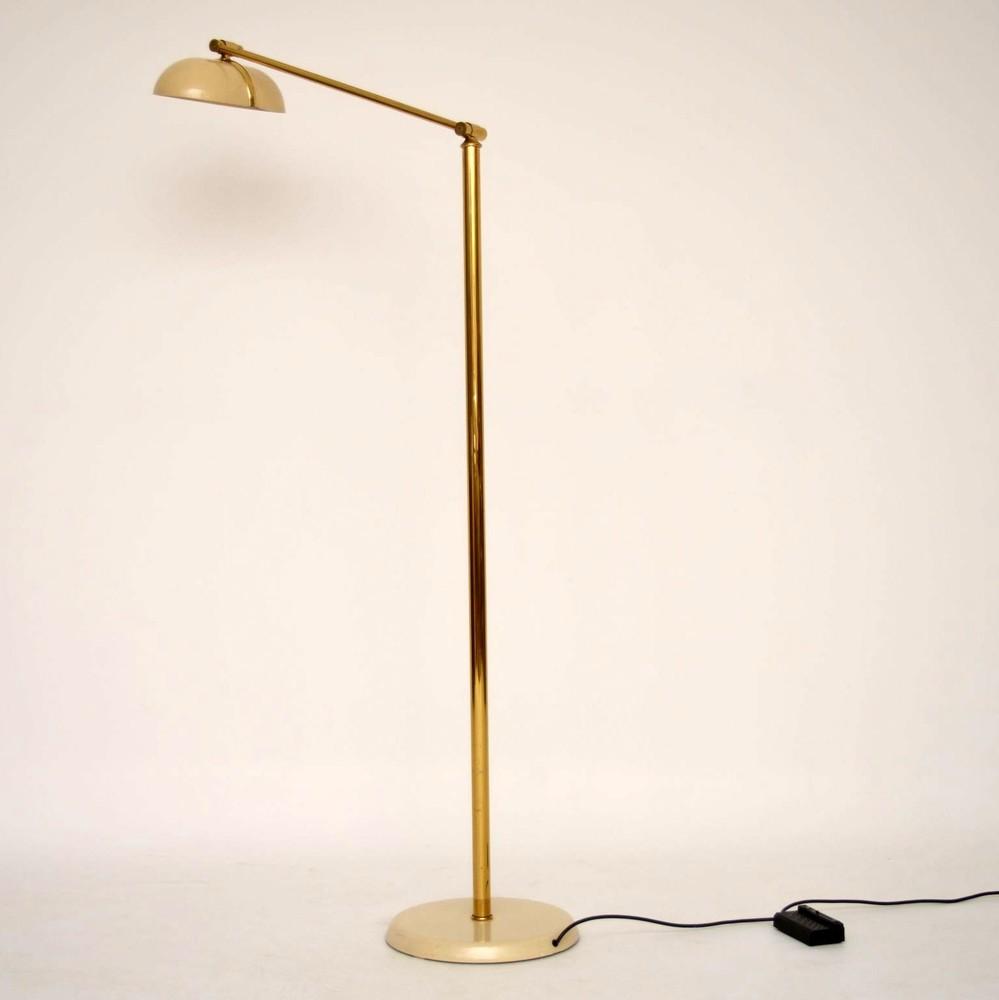 retro italian brass floor lamp vintage 1970 s. Black Bedroom Furniture Sets. Home Design Ideas