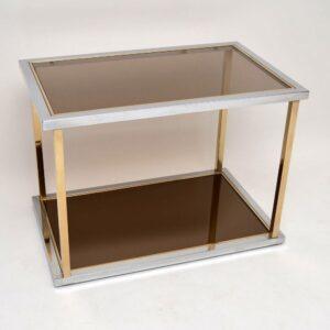 Retro Italian Chrome & Glass Side Table Vintage 1970'S