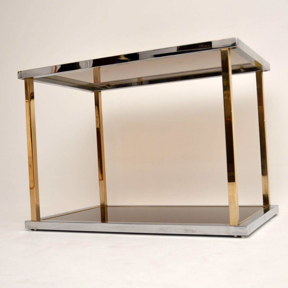 Retro italian chrome glass side table vintage 1970 s for Retro side table