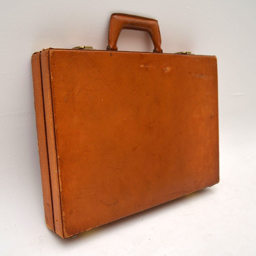 Retro Italian Leather Briefcase Vintage 1960 S