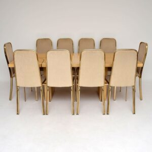 Retro Italian Maple & Brass Dining Table & Chairs By Zevi Vintage 1970'S