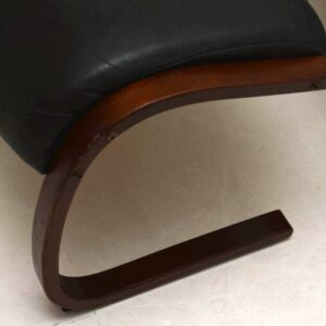 Retro Leather Cantilever Armchair & Stool by Rykken & Co Vintage 1970's