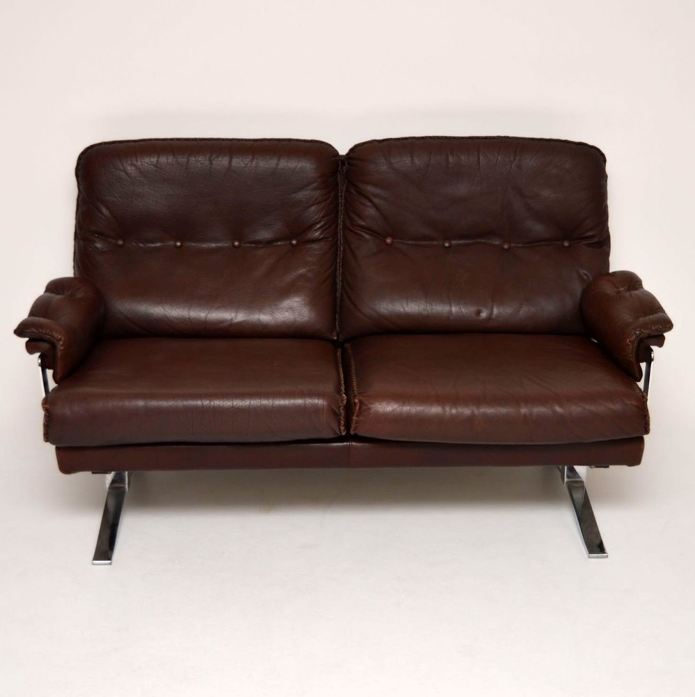Retro Leather Amp Chrome Sofa By Arne Norell Vintage 1960 S