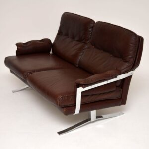 Retro Leather & Chrome Sofa by Arne Norell Vintage 1960's