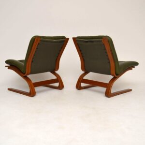 Retro Leather & Rosewood 'Kengu' Lounge Suite by Elsa & Nordahl Solheim Vintage 1970's