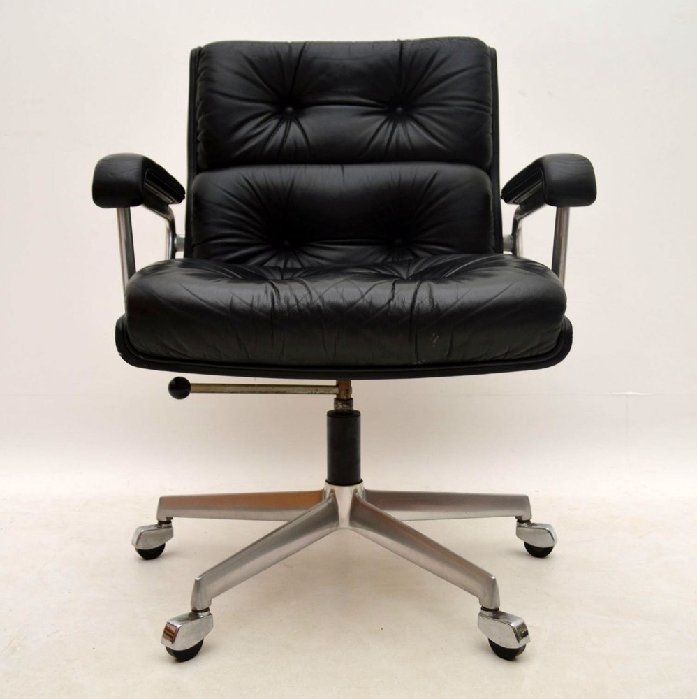 Retro Leather Swivel Desk Chair By Girsberger Vintage 1960