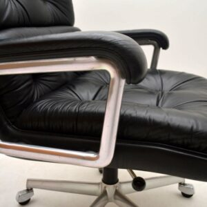 Retro Leather Swivel Desk Chair by Girsberger Vintage 1960's