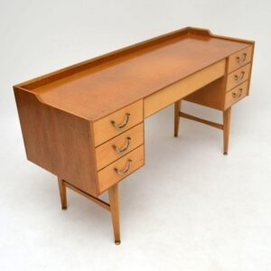 Retro Oak & Satin Wood Desk Vintage 1950's