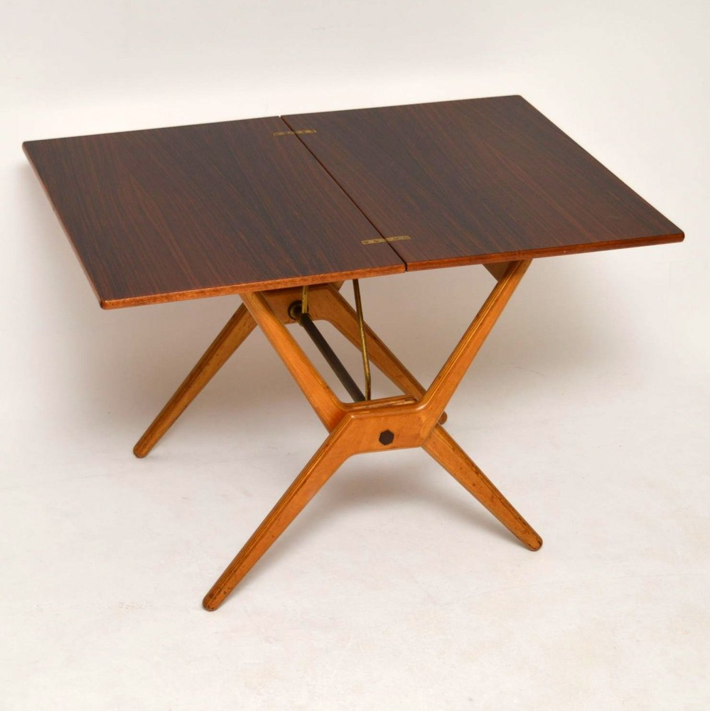 Retro Rosewood Folding Card Table Vintage 1960 S