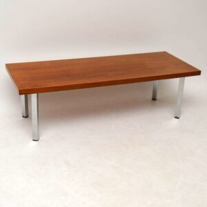Retro Teak & Chrome Coffee Table Vintage 1970'S