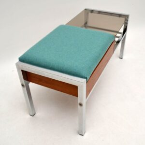 Retro Teak & Chrome Side Table / Bench Vintage 1960'S