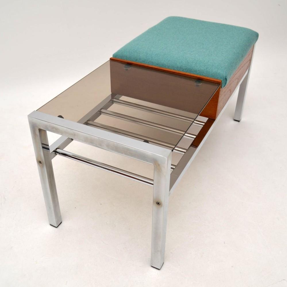 Retro Teak Amp Chrome Side Table Bench Vintage 1960 S
