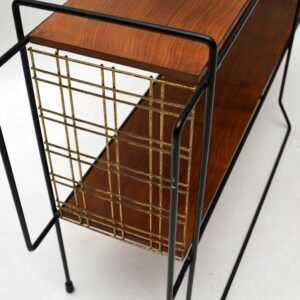 Retro Walnut & Metal Side Table With Lamp Vintage 1950'S