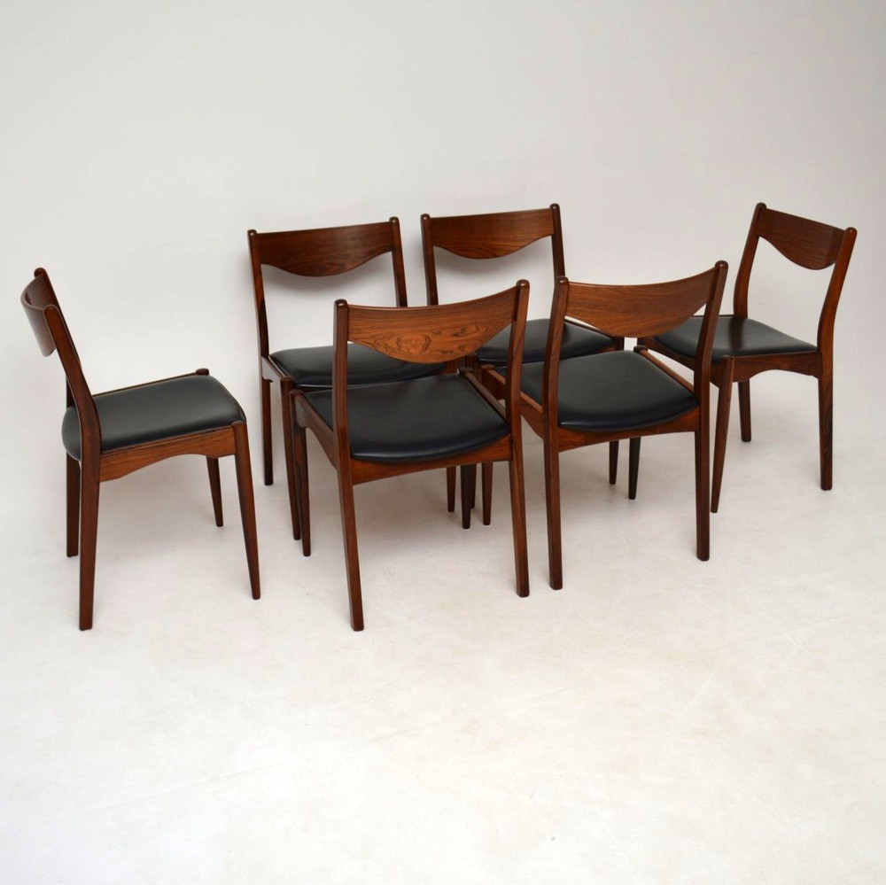 Set Of 6 Danish Rosewood Dining Chairs By Sl Mobler Vintage