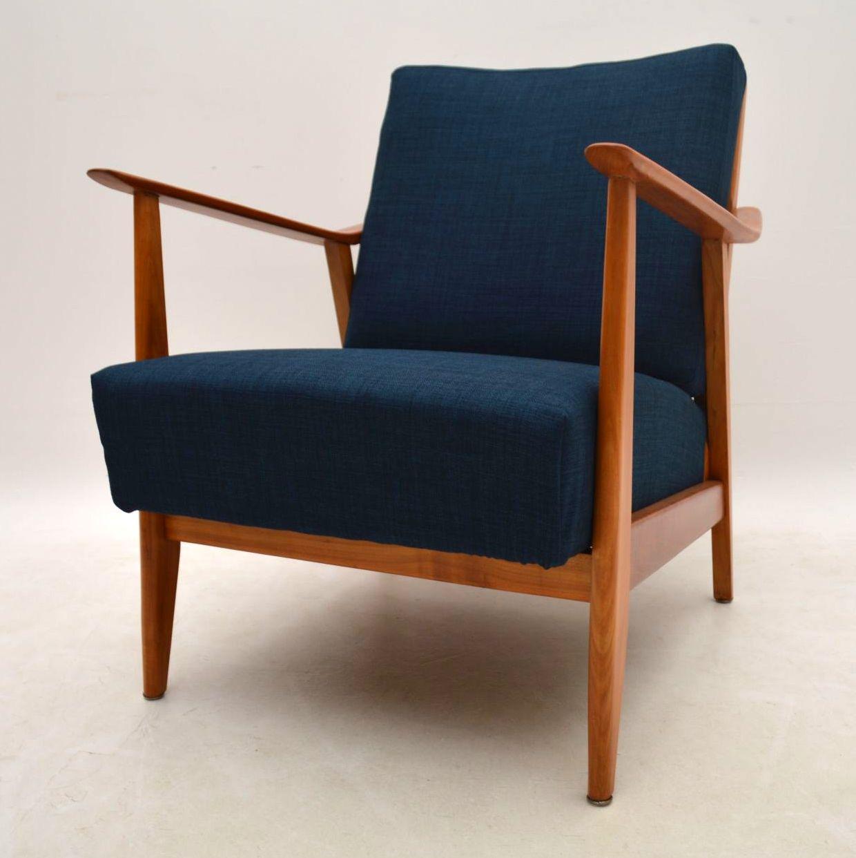 Retro Cherry Wood Armchair Vintage 1950's