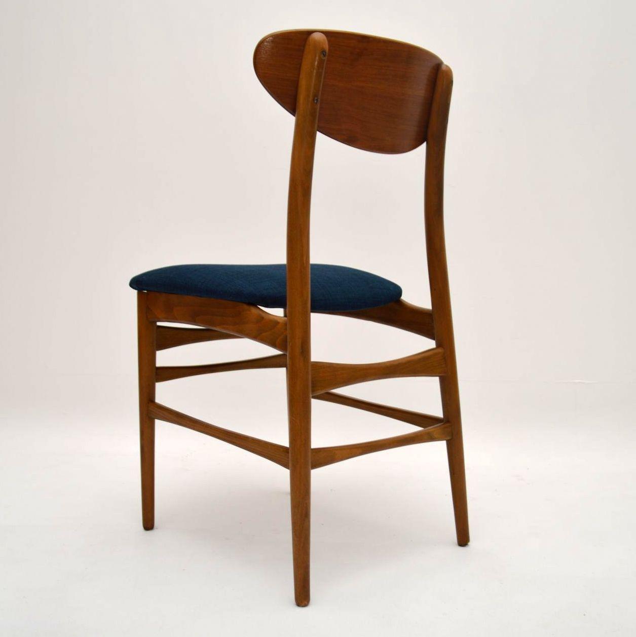 Set Of 4 Danish Walnut Retro Dining Chairs Vintage 1960 S