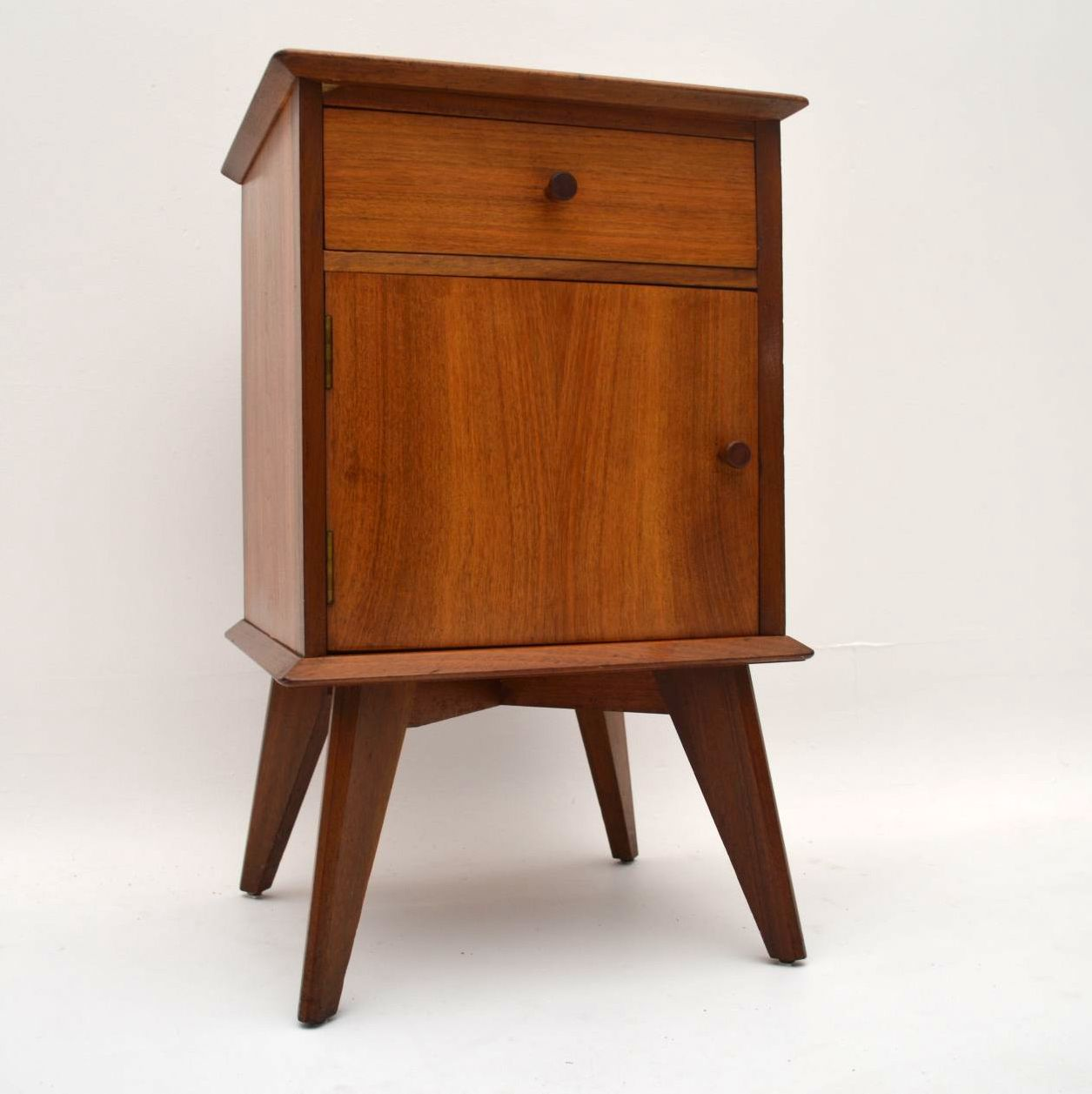 Retro Walnut Bedside Cabinet By Alfred Cox Vintage 1950 S