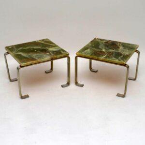 Pair of Retro Steel & Marble Effect Side Tables Vintage 1960's
