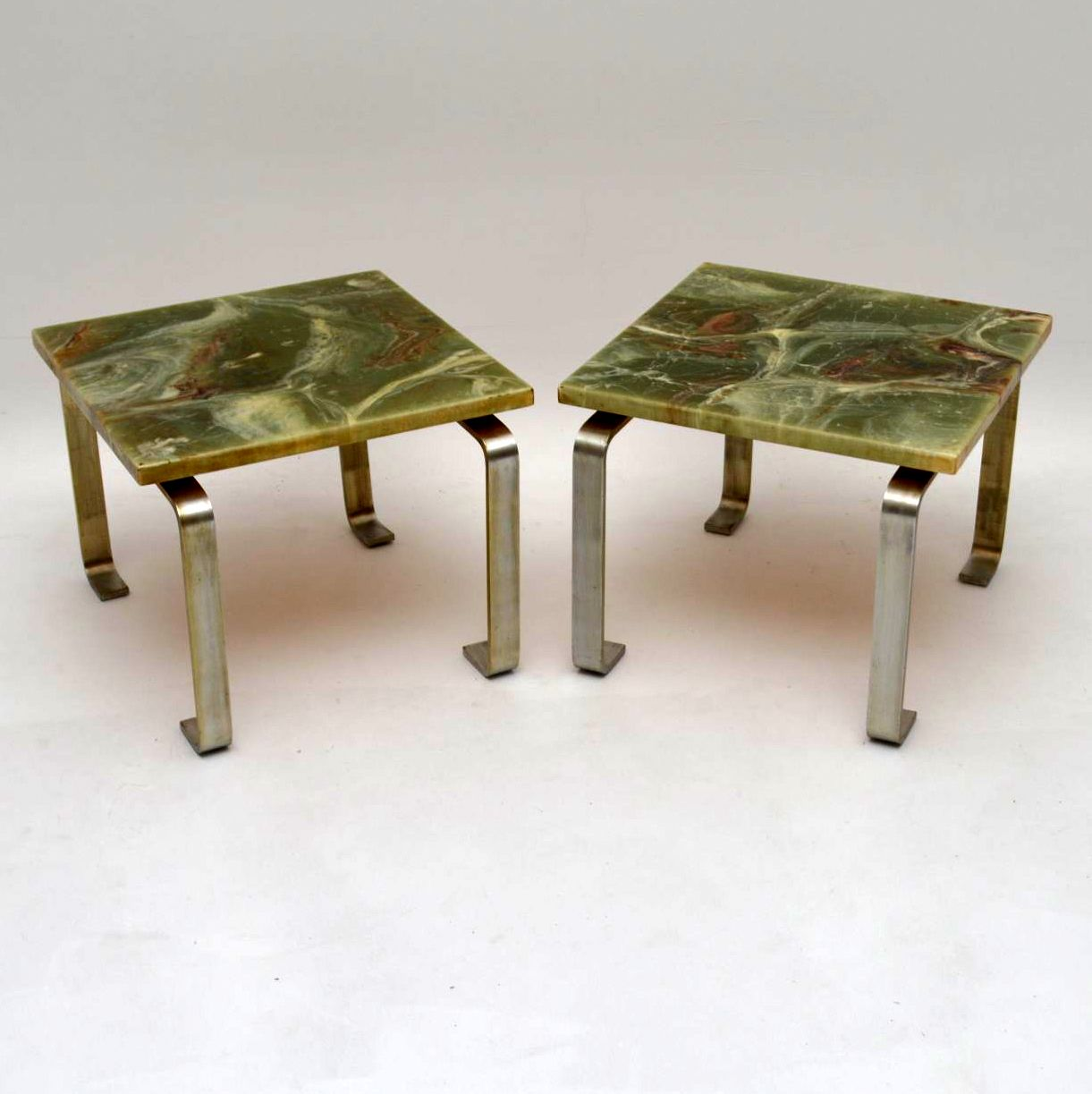 Pair Of Retro Steel Marble Effect Side Tables Vintage 1960 S