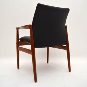 Danish Teak & Leather Retro Armchair by Grete Jalk Vintage 1960's