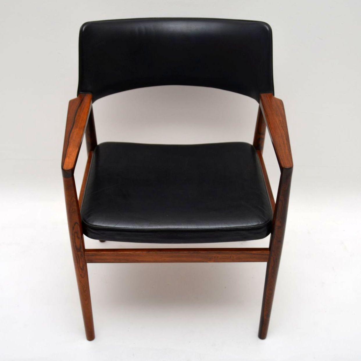 Danish Rosewood Amp Leather Retro Armchair Vintage 1960 S