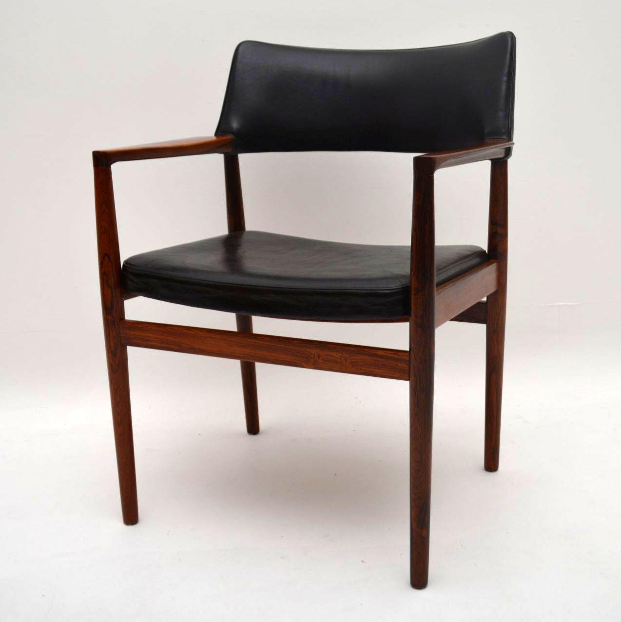 Danish Rosewood & Leather Retro Armchair Vintage 1960's