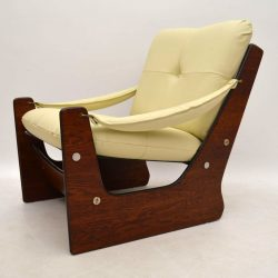 Retro Rosewood Leather Armchair Vintage 1960's