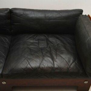 Retro Leather & Rosewood Sofa By Sigurd Ressel For Vatne Mobler Vintage 1960'S