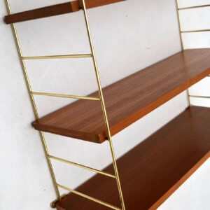 Danish Retro Teak & Brass Wall Mounting Bookcase Vintage 1960's