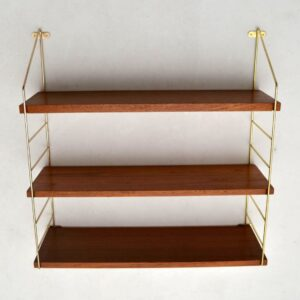 Danish Teak Retro Wall Mounting Bookcase Vintage 1960's
