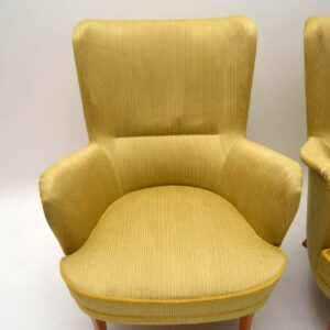 Pair of Retro Swedish Armchairs by Carl Malmsten Vintage 1960's