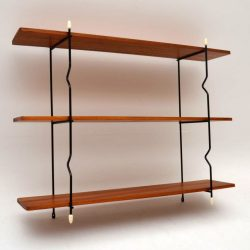 Retro Teak Wall Mounting Bookcase Vintage 1950's