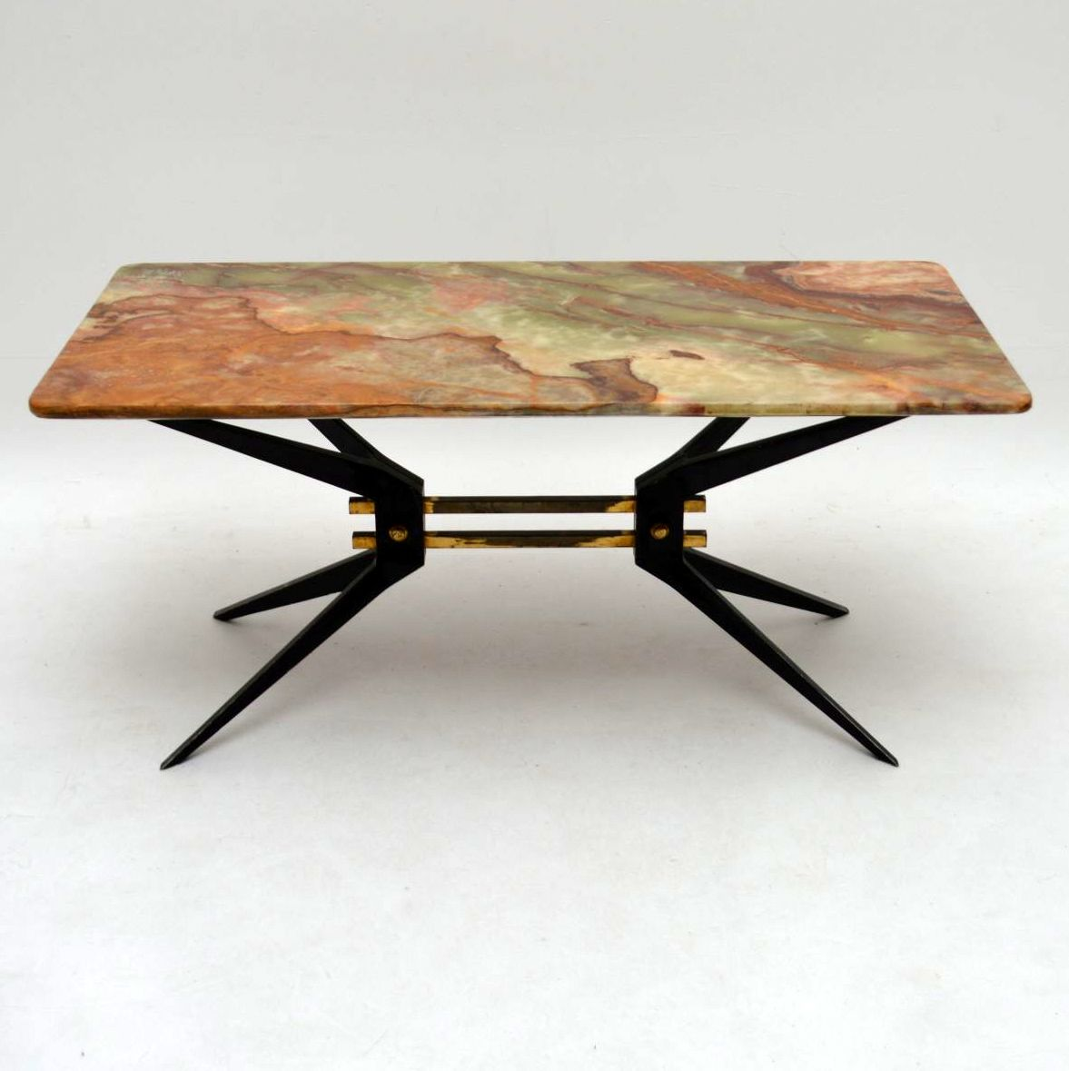Retro Italian Onyx Amp Steel Coffee Table Vintage 1950 S