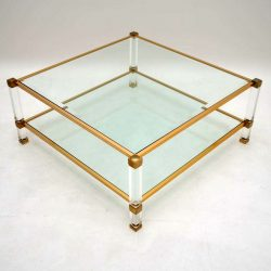 Retro French Coffee Table in Glass & Lucite Vintage 1960's