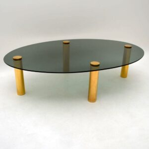 Large Retro Brass & Glass Coffee Table Vintage 1970's