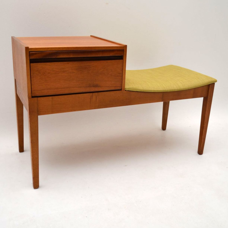 Retro Teak Telephone Side Table Bench Vintage 1960 S