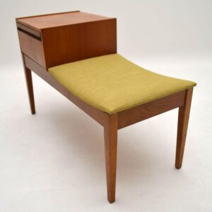 Retro Teak Telephone Side Table / Bench Vintage 1960's