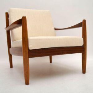 Pair of Danish Retro Walnut Armchairs Vintage 1950's