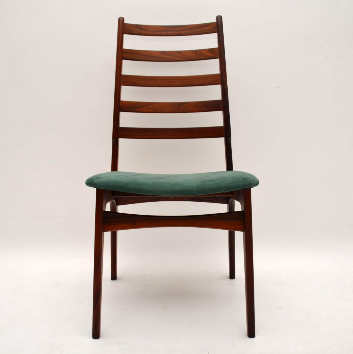 Set of 8 Danish Rosewood Suede Dining Chairs Vintage 1960s