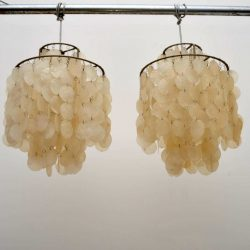 Pair of Swiss Retro Shell 'Fun' Chandeliers by Verner Panton Vintage 1960's
