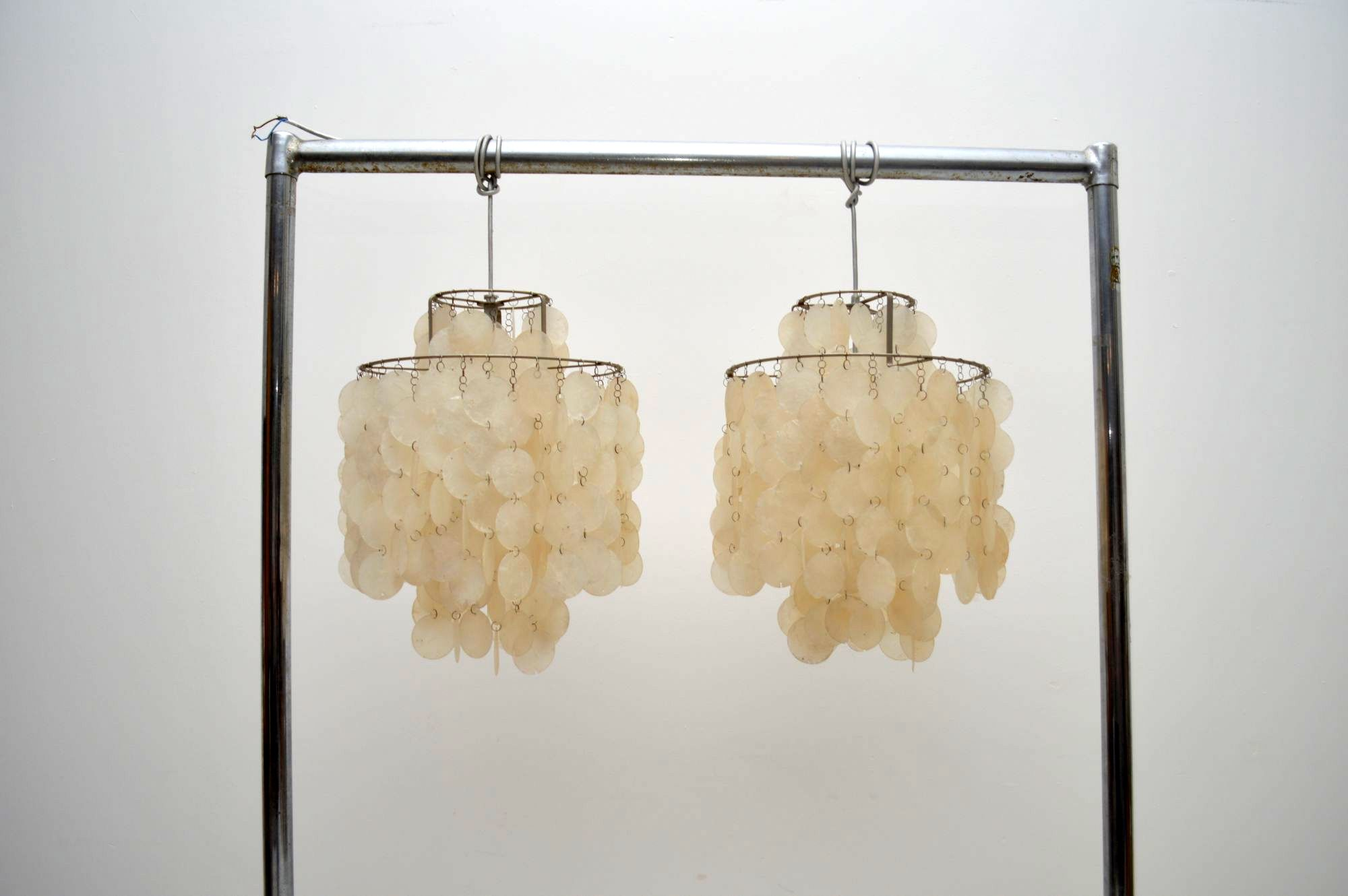 Pair Of Swiss Retro Shell Fun Chandeliers By Verner