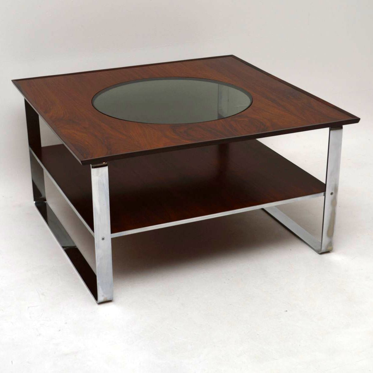 Retro Rosewood & Chrome Coffee Table by Guy Rogers Vintage 1960's